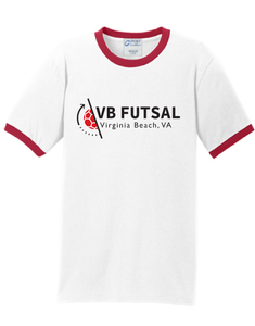 Short Sleeve Ringer T-shirt / White & Red / VB Futsal