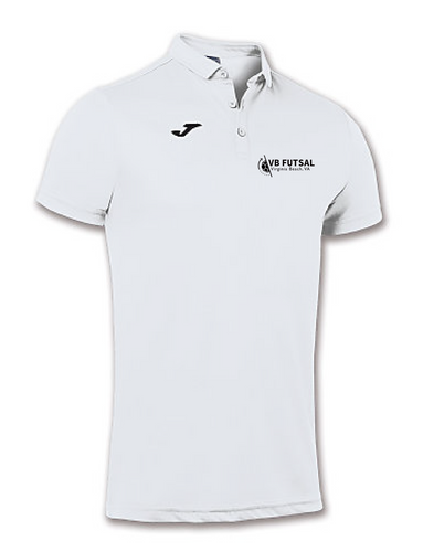 Joma Adult Hobby Short Sleeve Polo Shirt / White / VB Futsal