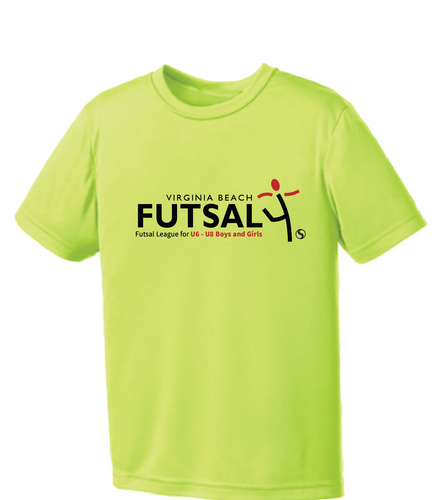 Youth Futsal 4's Youth Performance T-shirt / Neon Yellow / VBFutsal