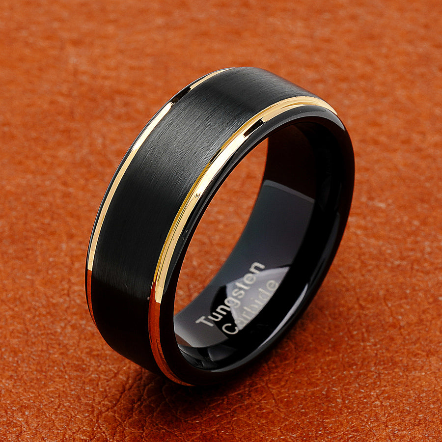 100s Jewelry Tungsten Rings For Men Two Tone Black Gold Wedding Band C