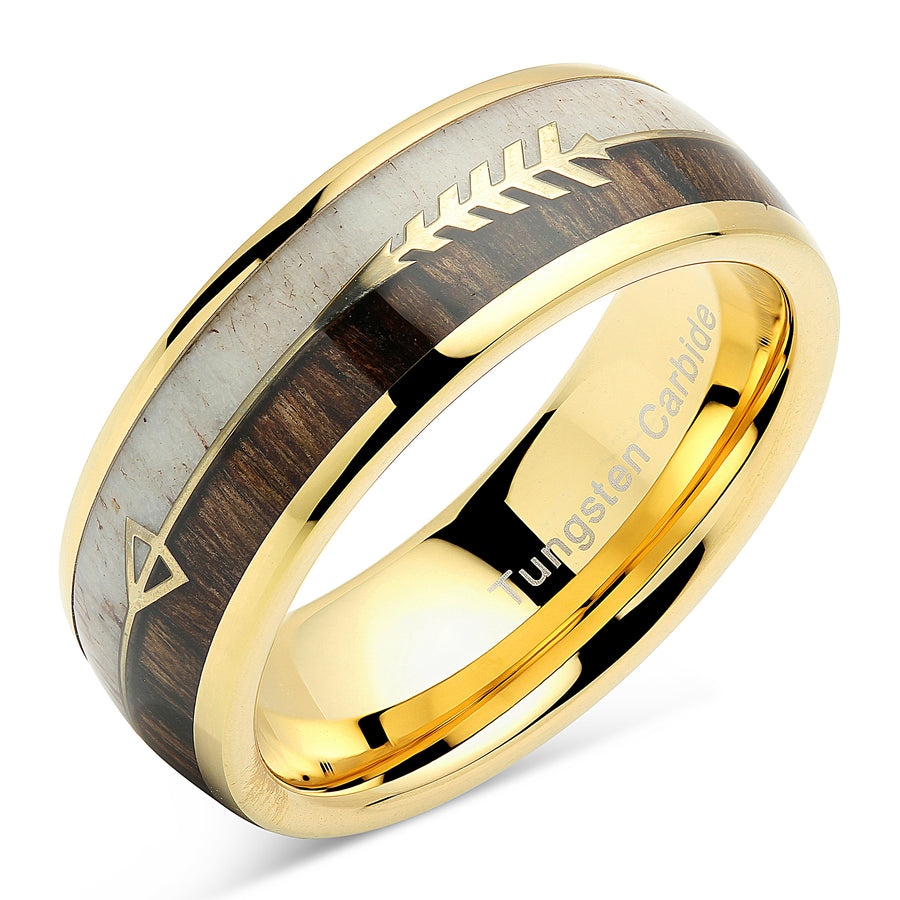 8mm Tungsten Carbide Ring Koa Wood Inlay Dome Edge Comfort Fit Wedding Band Size 6-16