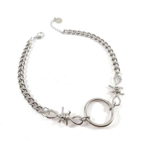 Barbed Wire Ring & Chain Necklace
