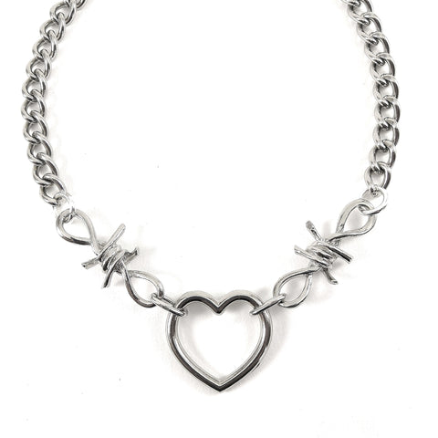 Barbed Wire Heart & Chain Necklace
