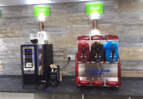 Abslute Slush and coffee machine installed at Liverpool convenience store