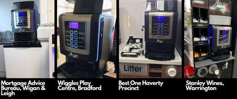 Italia bean to cup coffee machine installed in various businesses