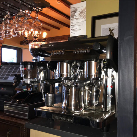 Expobar G10 2 Group Traditional Coffee Machine installed in Puckersley Inn with knockbox and grinder