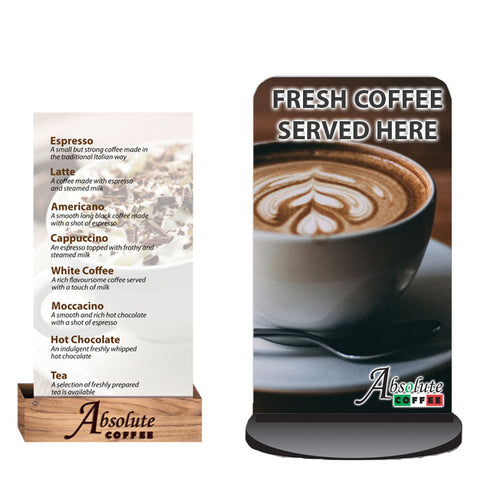 Absolute Drinks menu with wooden stand and a-board advertising fresh coffee