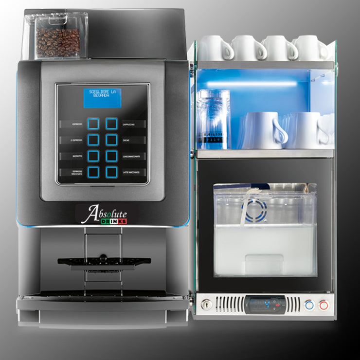 Italia coffee machine with cup warmer and milk fridge