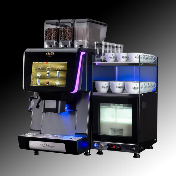Gaggia La Radiosa Commercial Bean To Cup Coffee Machine with fridge and cup warmer side view
