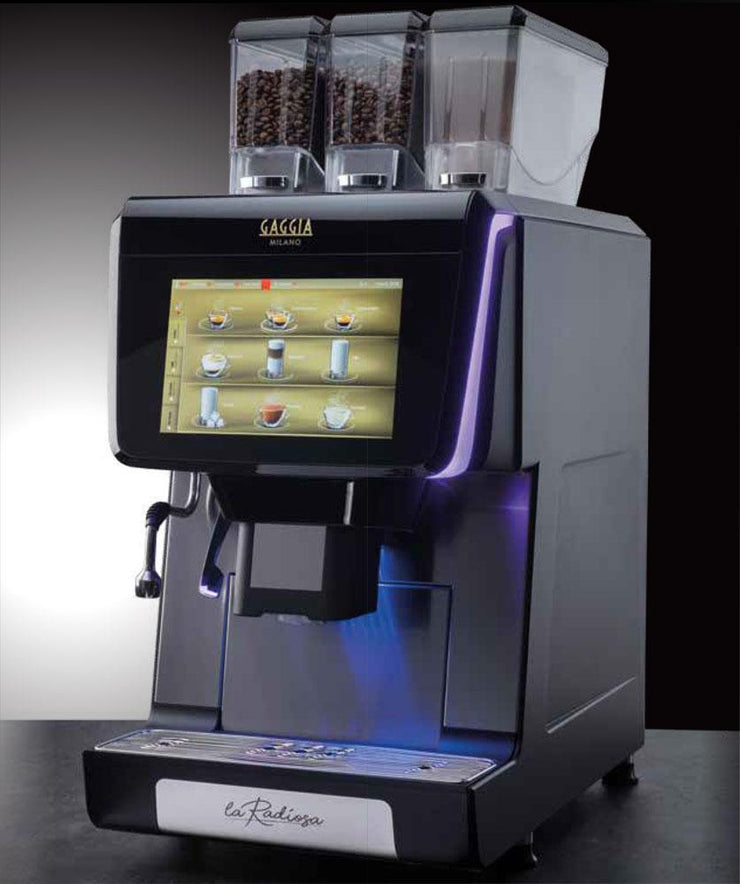 Side view of Gaggia La Radiosa Commercial Bean To Cup Coffee Machine