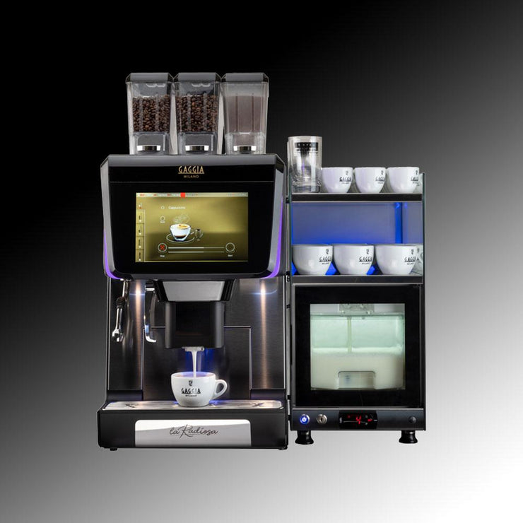 Gaggia La Radiosa Commercial Bean To Cup Coffee Machine with fridge and cup warmer front view