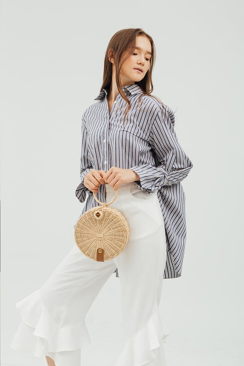 SLEEVE PLEATED SHIRT
