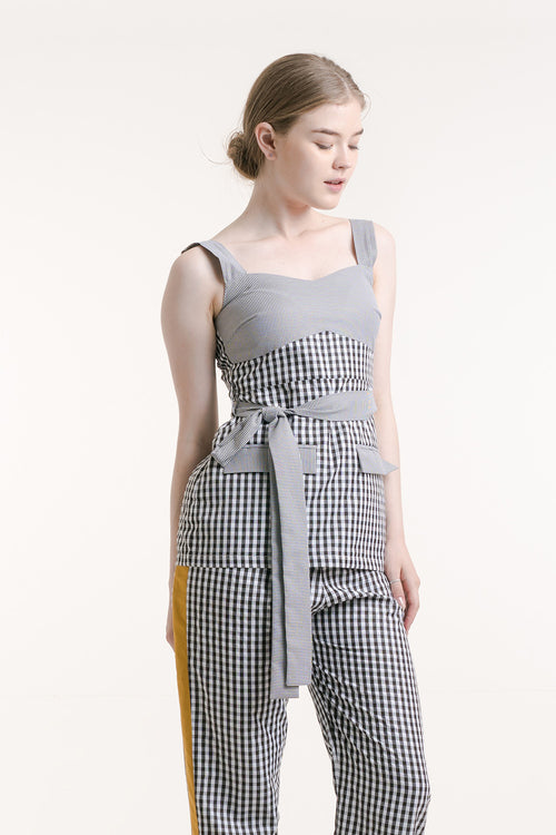 COMBINATION GINGHAM TOP