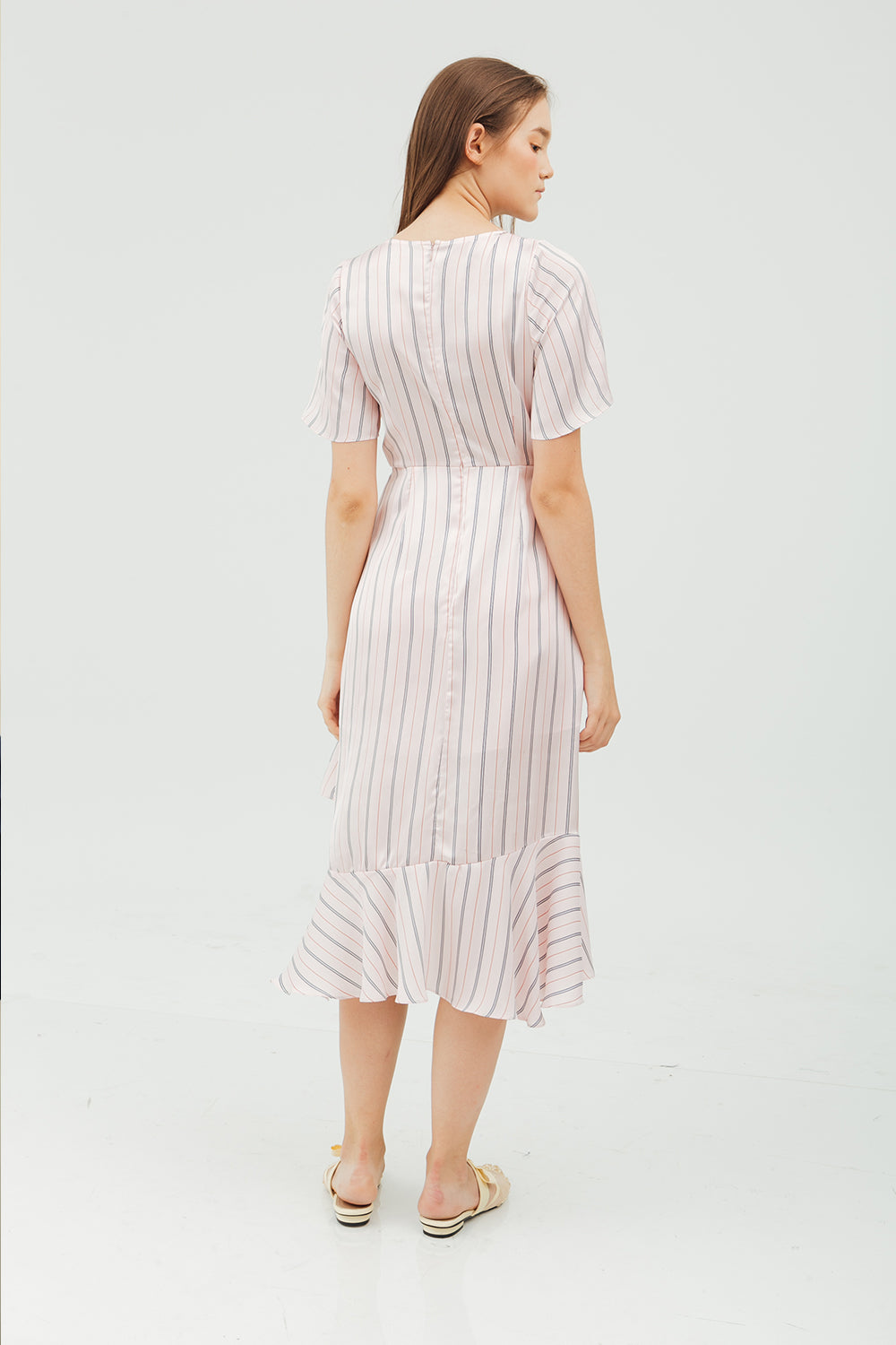 ASYMMETRIC RUFFLE MIDI DRESS