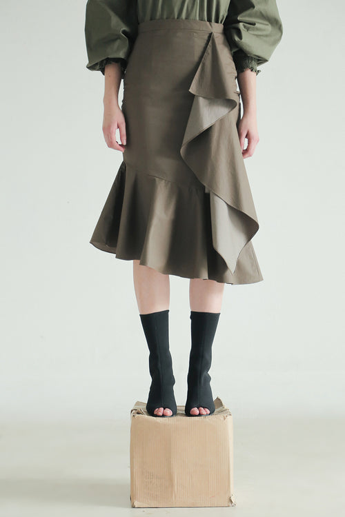 ASYMMETRIC RUFFLES SKIRT