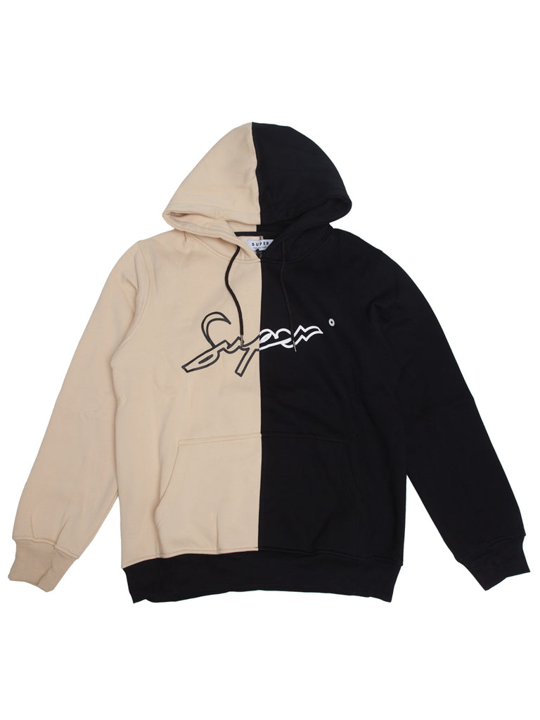 Super Black and Beige Split hoodie