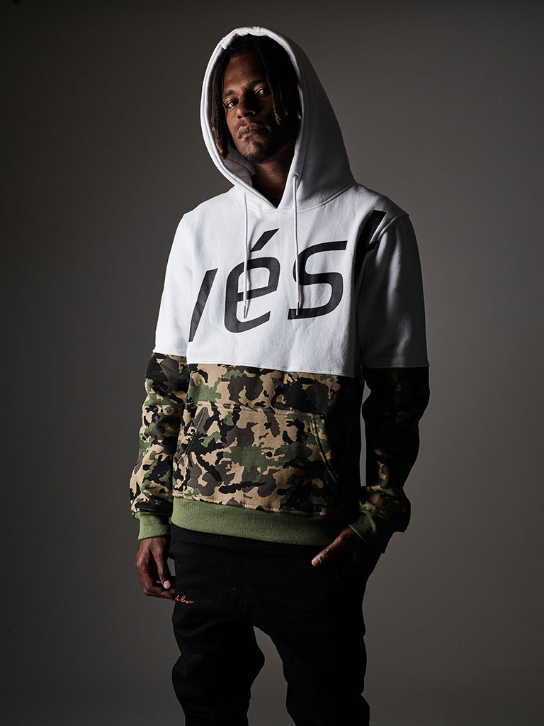 Split panel hoodie in white/camo