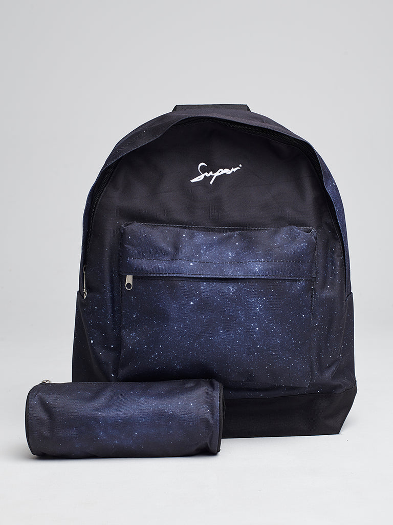 SUPER backpack with Pencil case in Night Galaxy