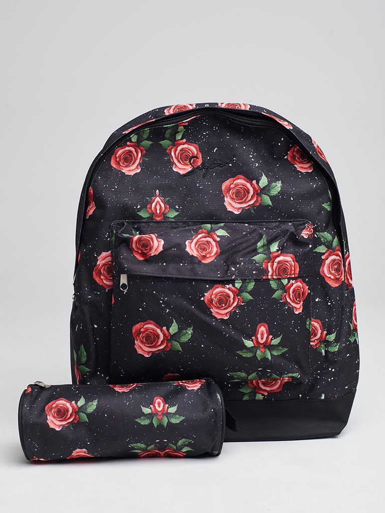 Super Backpack and Pencil case in Rose speckle