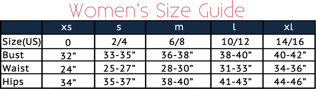 E L L A by Denise McLaughlin SIZE CHART for Women