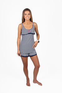 Emma Cami with Lara Shorts in Navy/White Stripe