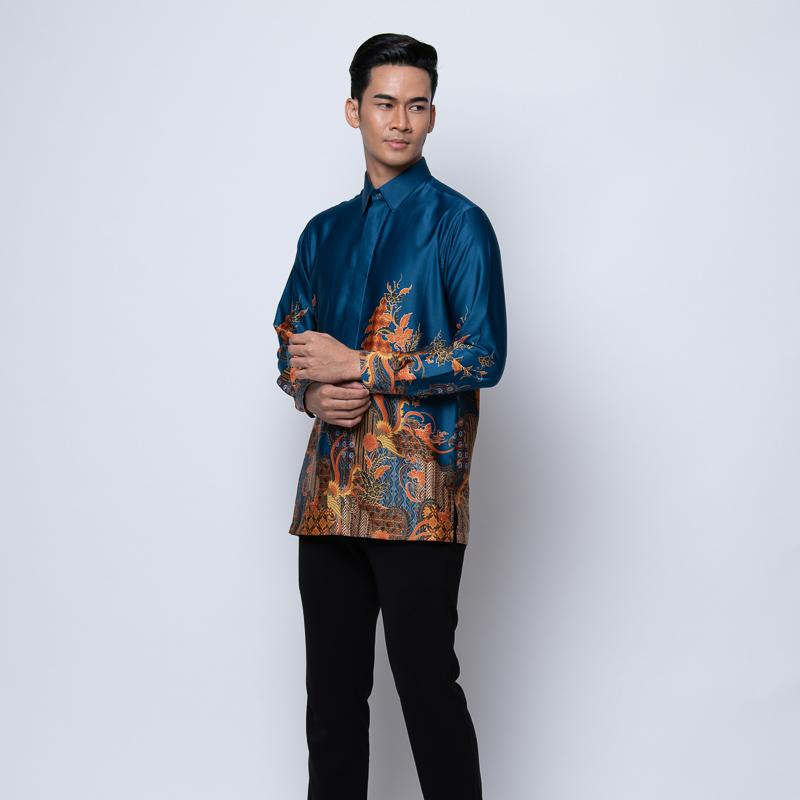 MENS LONG SLEEVE SHIRT BATIK SEABLUE
