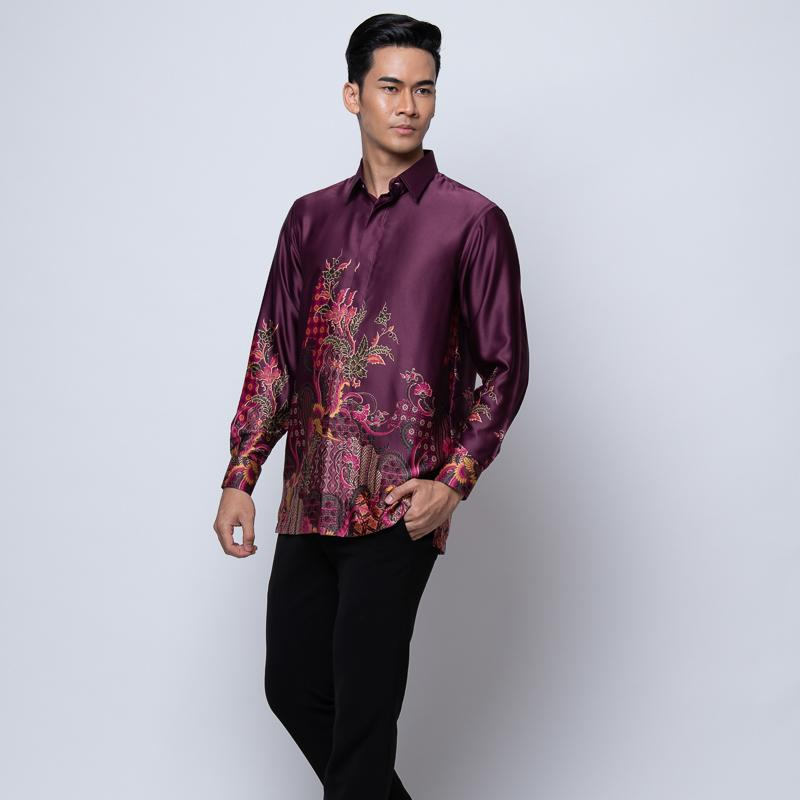 MENS LONG SLEEVE SHIRT BATIK PLUM