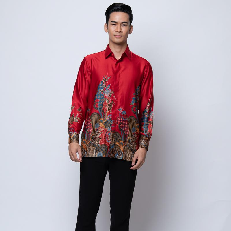 MENS LONG SLEEVE SHIRT BATIK RED