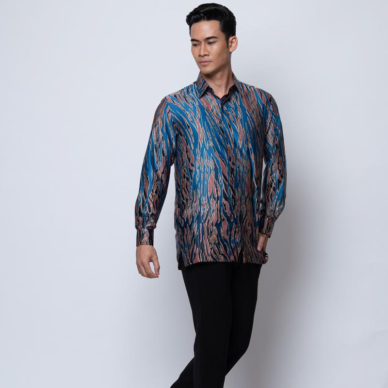 MENS LONG SLEEVE SHIRT BATIK TURQUOISE