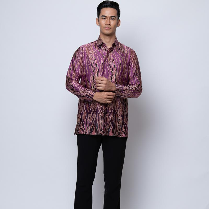 MENS LONG SLEEVE SHIRT BATIK PURPLE
