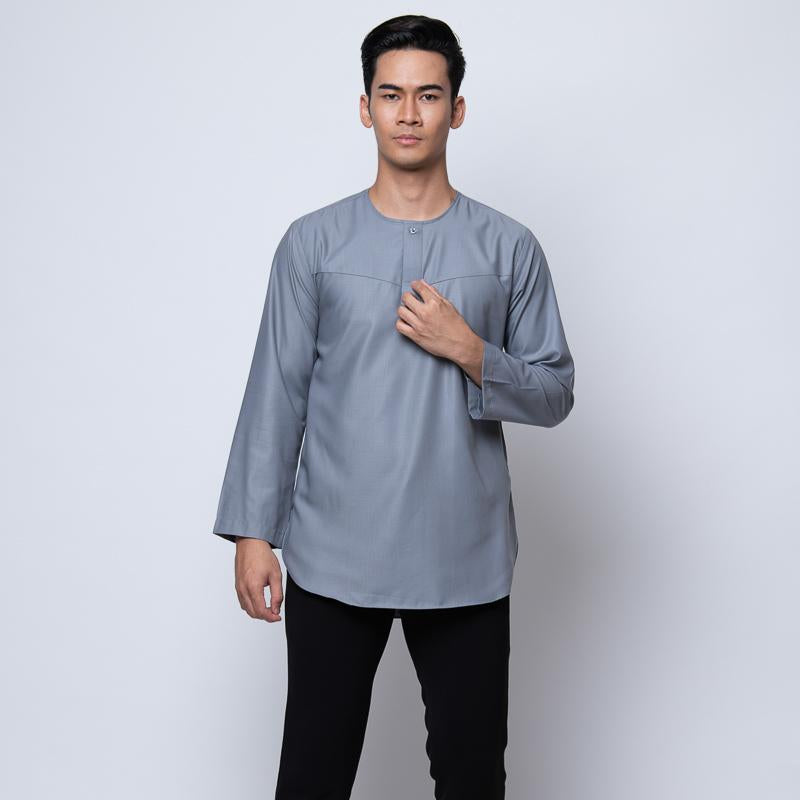 MENS KURTA FULL SLEEVE SILVER GREY