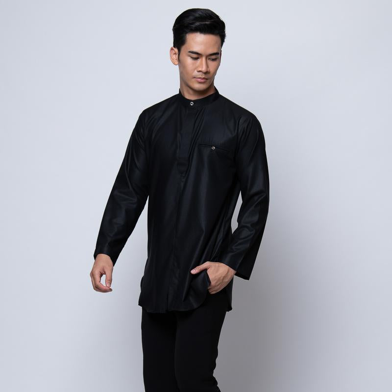 MENS KURTA COTTON LINEN BLACK