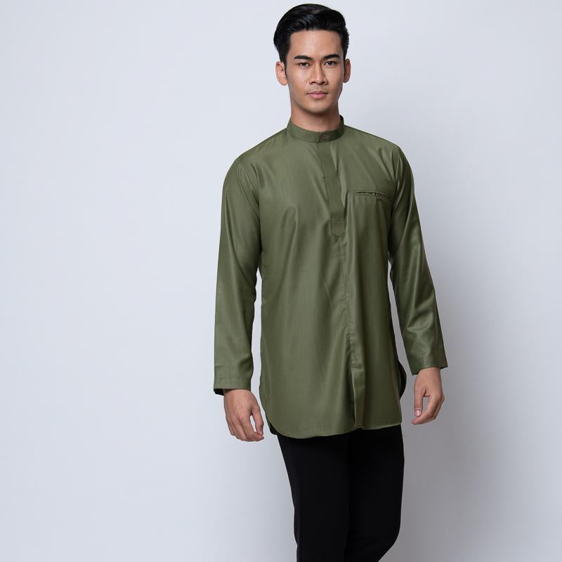 MENS KURTA COTTON LINEN OLIVE GREEN