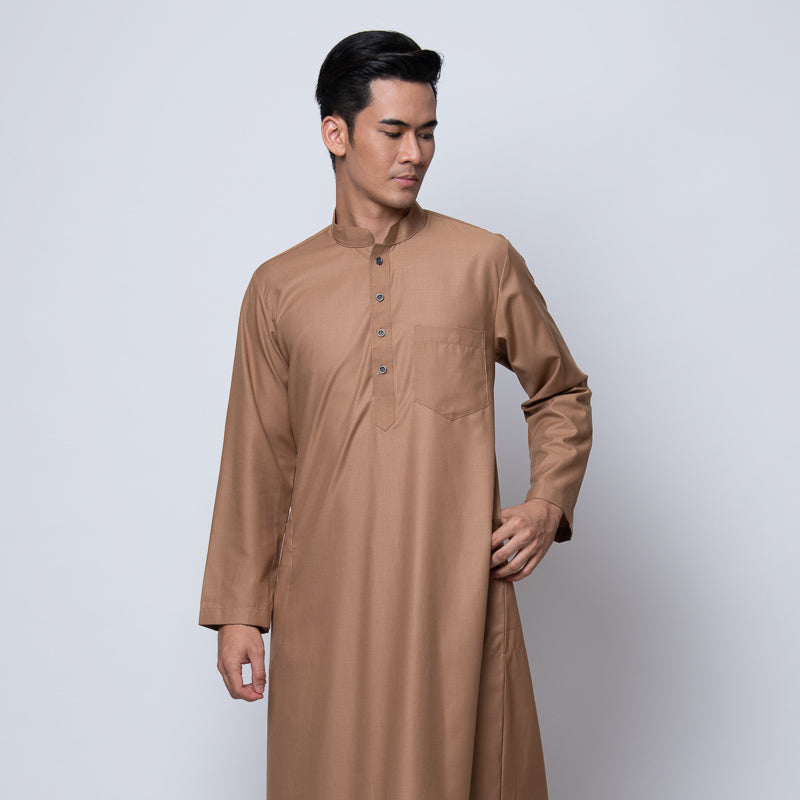 MENS JUBAH HIMEJI HI-TWIST SLIM FIT PASTEL BROWN