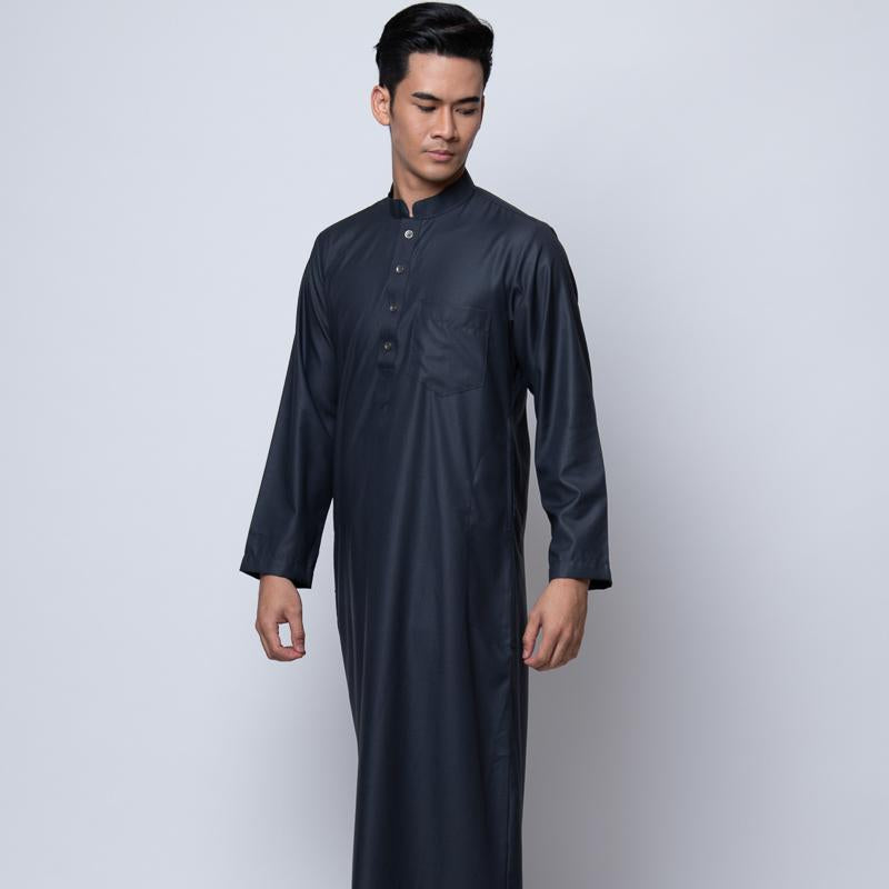 MENS JUBAH HIMEJI HI-TWIST PESAK SLIM FIT DARK GREY