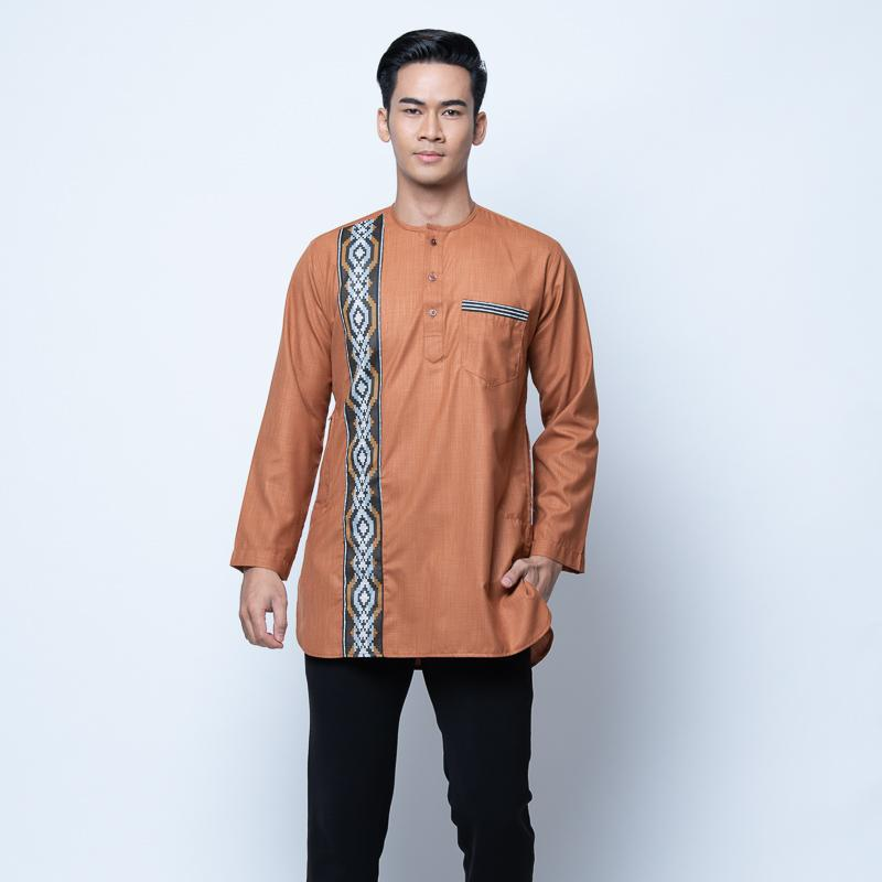 MENS KURTA SEMI LINEN FULL SLEEVE LIGHT BROWN