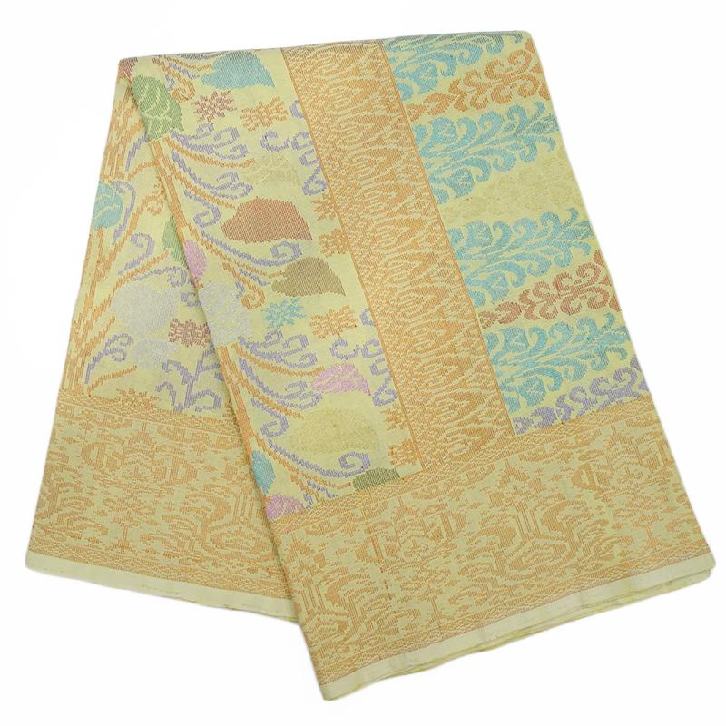 MENS SAMPIN SONGKET BUNGA PENUH ORANGE YELLOW