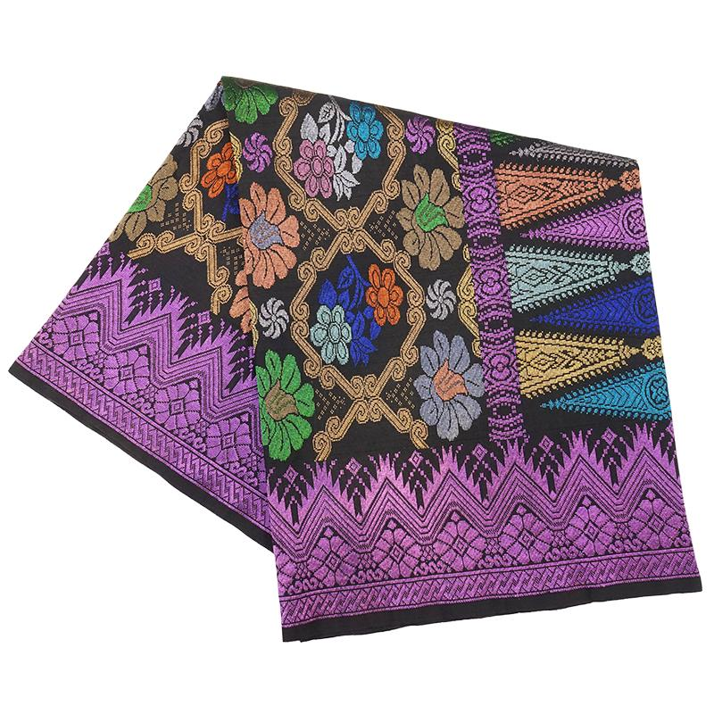 MENS SAMPIN SONGKET BUNGA PENUH PURPLE BLACK