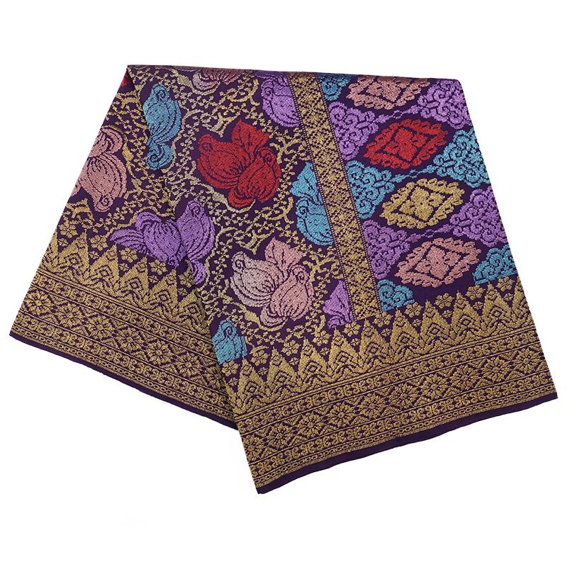 MENS SAMPIN SONGKET BUNGA PENUH PURPLE GOLD