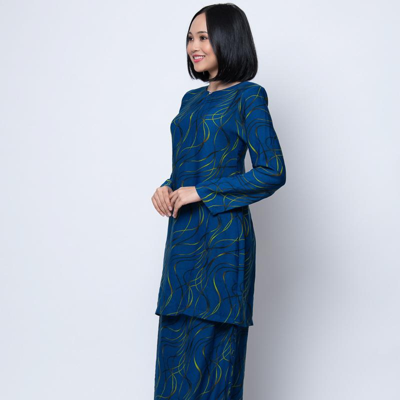 BAJU KURUNG MODEN ABSTRACT BLUE