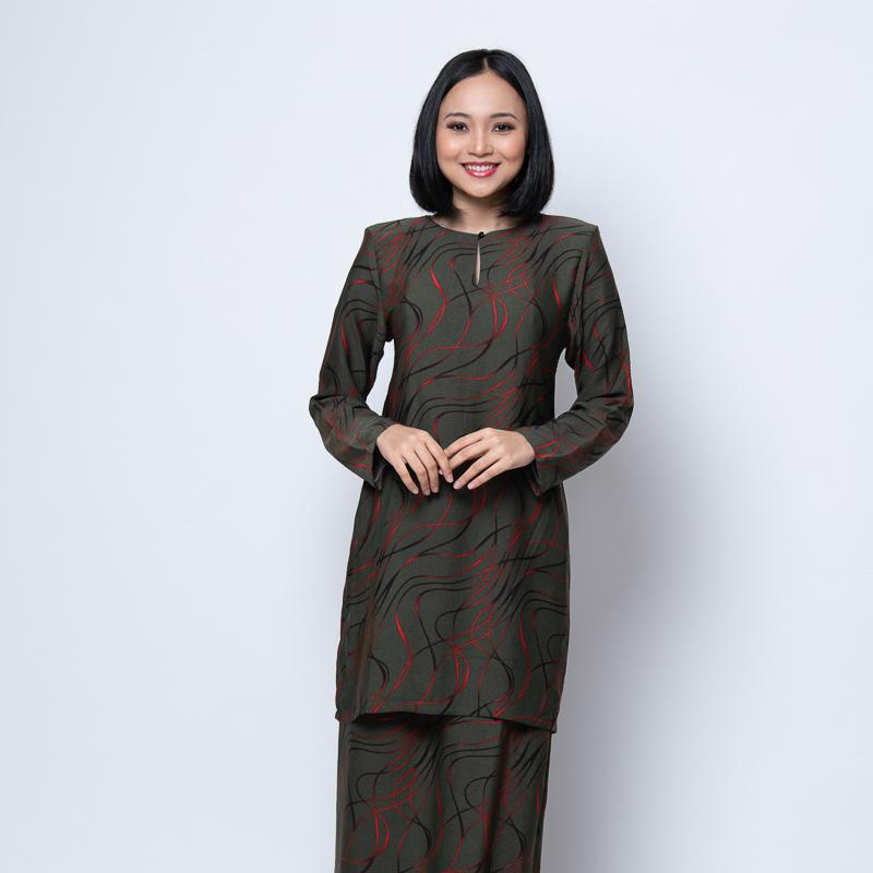 BAJU KURUNG MODEN ABSTRACT GREEN