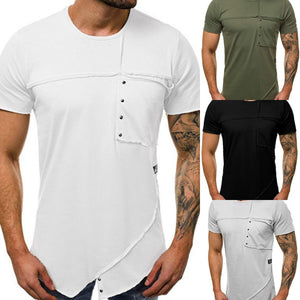 Summer Plain Round Collar Rivets Decorated Shirts
