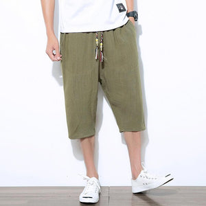 Casual thin cotton and linen loose shorts