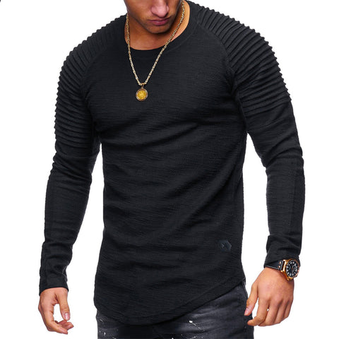 Men's Striped Pleated Round Neck Slim Long Sleeve T-Shirt