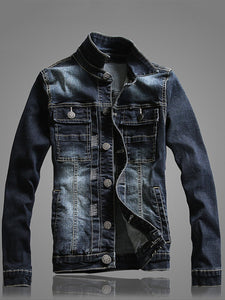 Denim Flap Pocket Ripped Light Wash Men Jacket