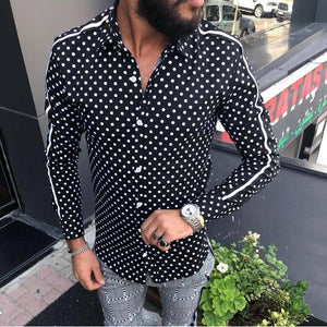 Fashion Mens Wave Point Lapel Slim Shirts