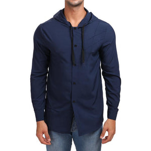 Mens Loose Hooded Shirt