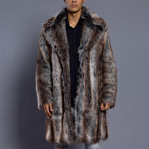 Mens Sable Faux Fur Stripe Coat
