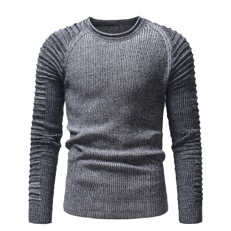 Fashion Round Collar Plain Slim Fit Knit Sweater