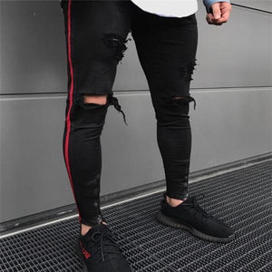 Sport Fashion Slim Strip Hole Close-Fitting Men Pants